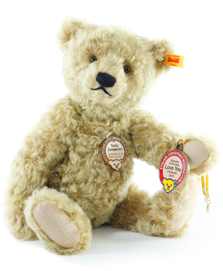 Teddy Companion With Personalized Medallion by Steiff