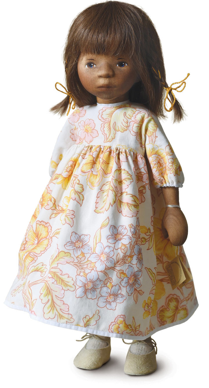 African American Girl In Yellow Floral Dress H362e by Elisabeth Pongratz