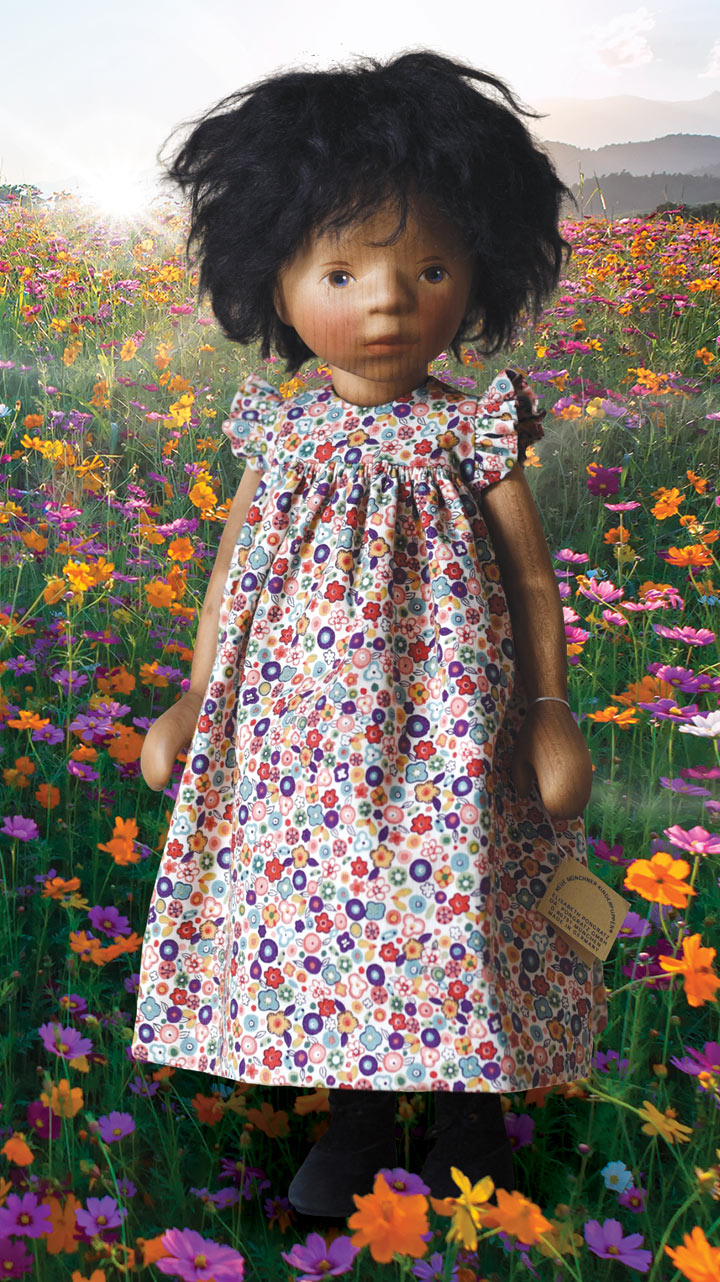 African American Girl In Colorful Floral Print H364e by Elisabeth Pongratz